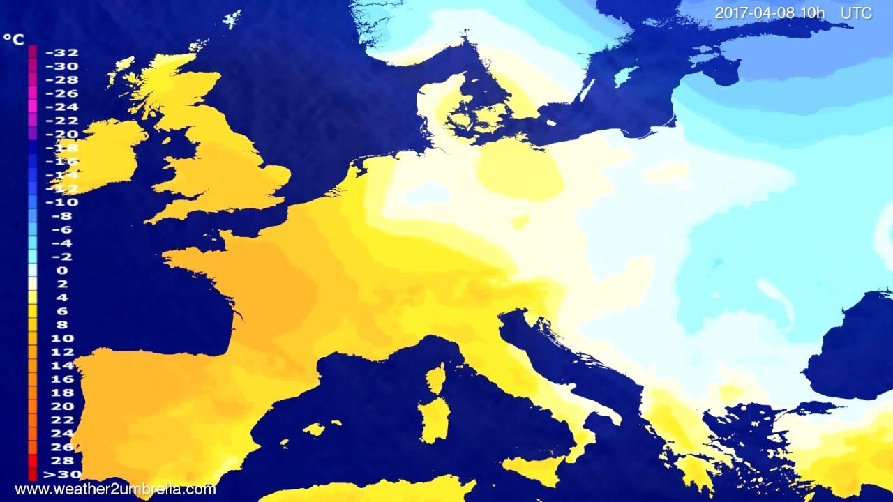 Temperature forecast Europe 2017-04-05