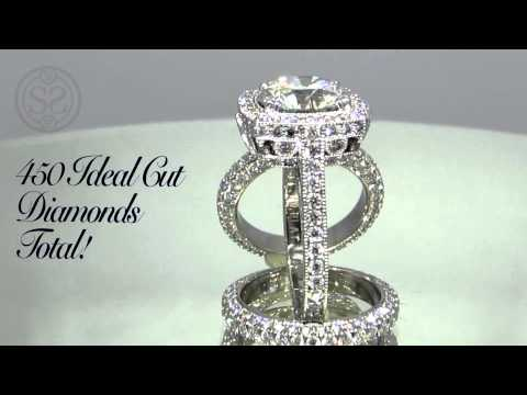 The Crown Halo Engagement Ring and Matching Wedding Bands