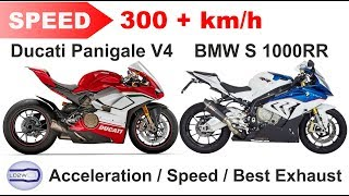 3. 2018 Ducati PANIGALE V4 vs BMW S 1000RR / Acceleration, Top Speed 300+ km/h, Ride and Exhaust
