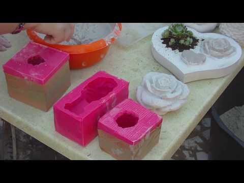 DIY - Beton giessen - Silikonform einteilig/ zweiteilig Rosenkugel und fertiger Abguss