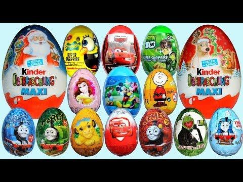 20 Surprise Eggs Kinder Surprise Maxi Mickey Mouse Cars 2 Disney Pixar Thomas & Friends