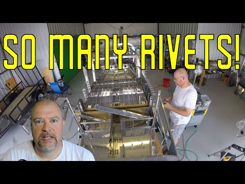 RV-10 Fuselage - 029 - Riveting skins on to the fuselage + real time work