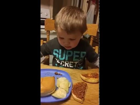 Little boy thinks sloppy joe is....POOP