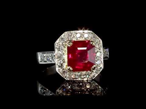 GRS Certified 3.5ct Burma Square Cut Ruby Ring