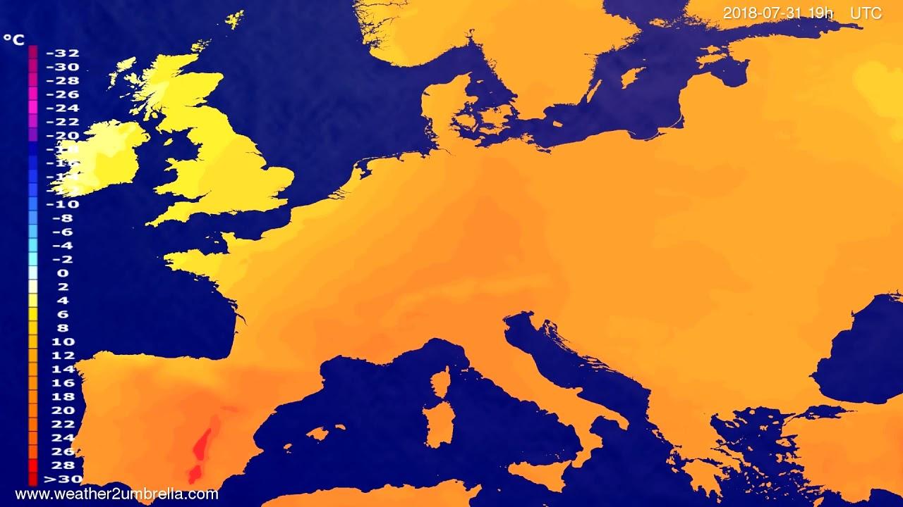 Temperature forecast Europe 2018-07-29