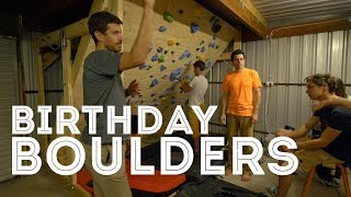 Birthday Boulder Problems on the Home Climbing Wall by Jackson Climbs