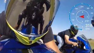 Twin Turbo Lamborghini vs Kawasaki H2 vs BMW S1000RR vs CBR 1000 - Motorcycle Top Speed Runs