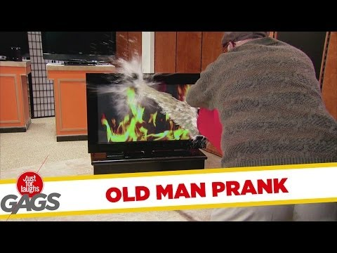 Old Man Puts Out TV Fire - Youtube