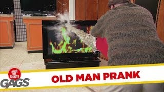 Old Man Puts Out TV Fire