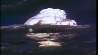 Link to order this clip: http://www.criticalpast.com/video/65675058834_Hydrogen-bomb-test_shock-wave_fireball_mushroom-cloud Historic Stock Footage Archival ...