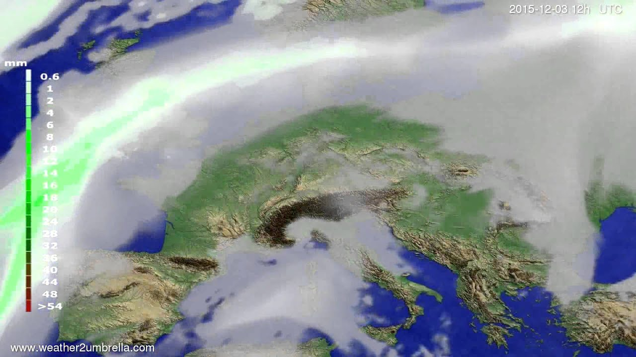 Precipitation forecast Europe 2015-11-29