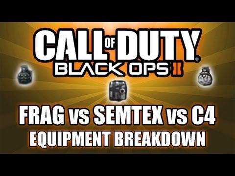 frag vs semtex - In this video I cover the pros, cons, and stats of the throw-able explosives in Black Ops 2. If you have any requests for something you would like a breakdow...