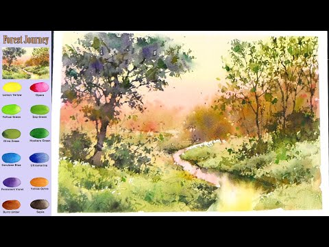 Without Sketch Landscape Watercolor - Forest journey (color mixing view) NAMIL ART
