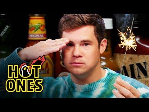 Adam Devine Gets Patriotic While Eating Spicy Wings   Hot Ones