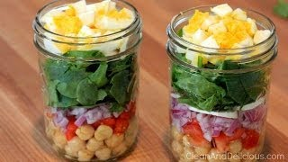 Clean Eating Spinach Salad Jars - YouTube