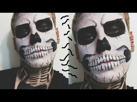 Makeup Tutorial: Halloween Skeleton/Skull/Zombie Boy Makeup