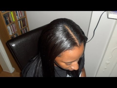 Middle Part Sew In Weave Tutorial (and braid pattern)...Diva Straight ...