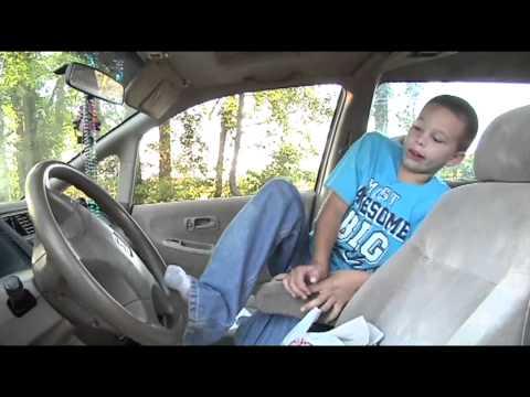9 year old boy takes wheel, saves mom