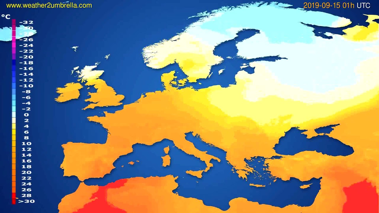 Temperature forecast Europe // modelrun: 00h UTC 2019-09-13