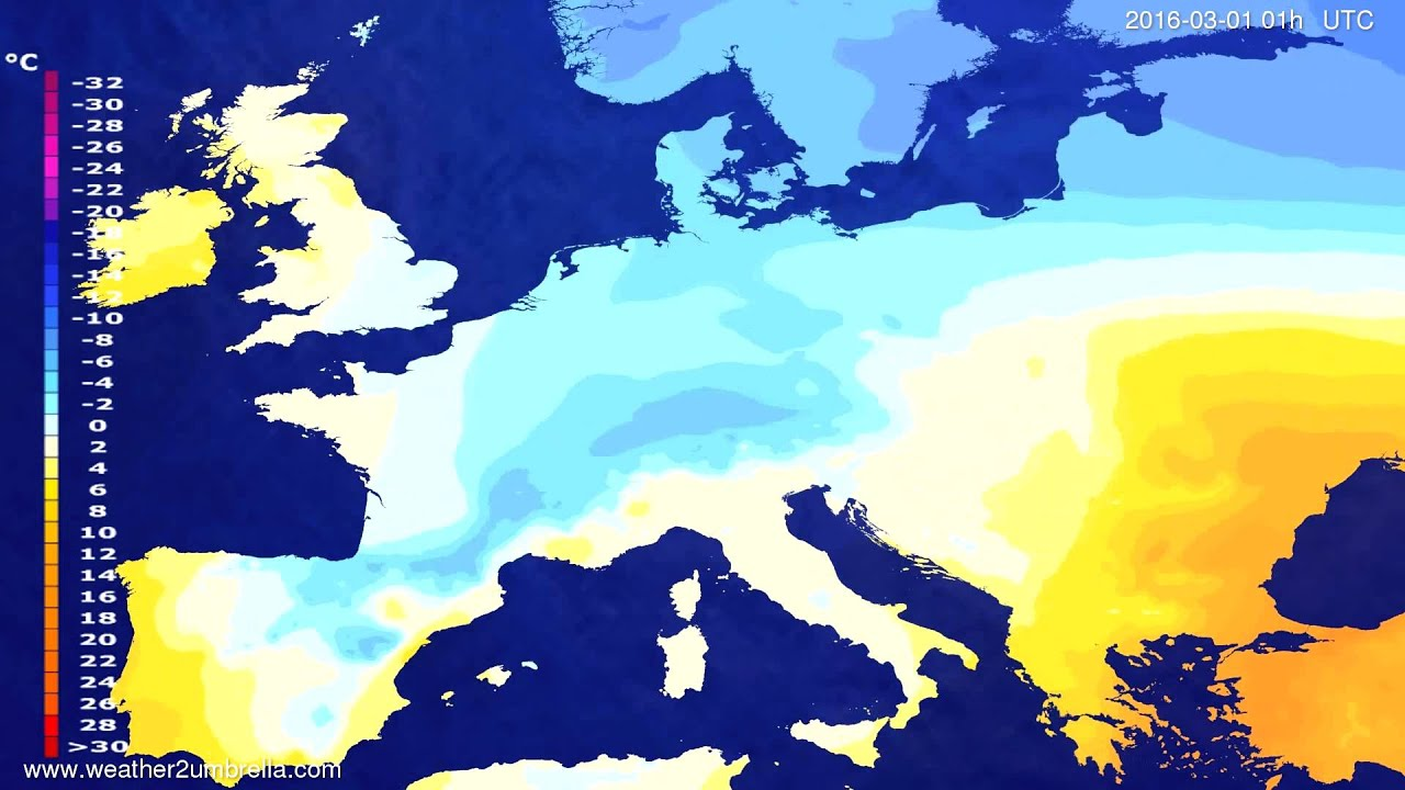 Temperature forecast Europe 2016-02-27