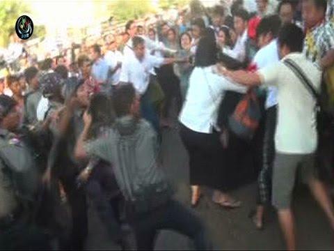 VDO: Students, activists beaten as police put down Rangoon protest