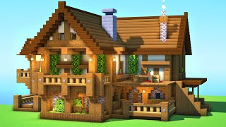 How to Build a House in Minecraft! Wooden Medieval Mansion Tutorial!!!