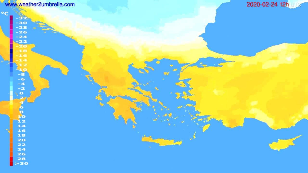 Temperature forecast Greece // modelrun: 12h UTC 2020-02-23
