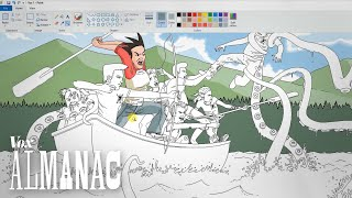 Pat Hines used MS Paint for all the illustrations in his book. Here's how.Check out Pat's work here:http://facebook.com/campredbloodhttp://facebook.com/captainredbloodhttps://www.amazon.com/dp/B07143FXZ5We've also created 2 videos that show the entire process (YouTube has a 12 hour limit - Pat spent 15 hours making this picture).Part 1:https://youtu.be/OREayzbrO3kPart 2: https://youtu.be/aHYAZcd6NbUIn this episode of Vox Almanac, Phil Edwards interviews an artist using an unlikely tool: MS Paint. Microsoft Paint isn't known as the best artistic tool. But Pat Hines used it to create the illustrations for his horror fantasy, Camp Redblood. And the results are incredible.He explains how Microsoft Paint works for him, and includes notes about his favorite artists, like Herge, Ivan Bilibin, and more. He also shows why he prefers Paint to Photoshop and Illustrator and how it created his unique artistic style. This speedpaint is a reflection of years of labor.Subscribe to our channel! http://goo.gl/0bsAjOVox.com is a news website that helps you cut through the noise and understand what's really driving the events in the headlines. Check out http://www.vox.com to get up to speed on everything from Kurdistan to the Kim Kardashian app. Check out our full video catalog: http://goo.gl/IZONyEFollow Vox on Twitter: http://goo.gl/XFrZ5HOr on Facebook: http://goo.gl/U2g06o