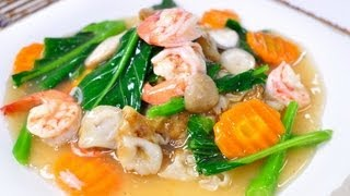 [Thai Food] Sen Yai Rad Na Goong (Flat Rice Flour Noodle With Shrimp In Gravy Sauce)