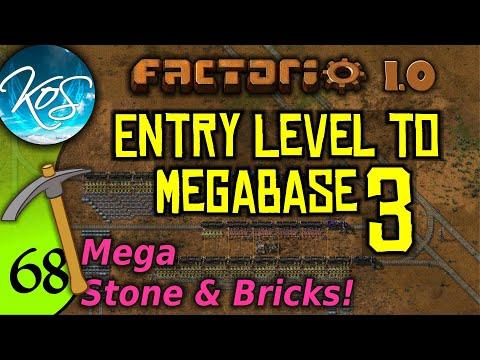 Factorio 1.0 Entry Level to Megabase 3, Ep 68: MEGA STONE & BRICKS - Guide, Tutorial