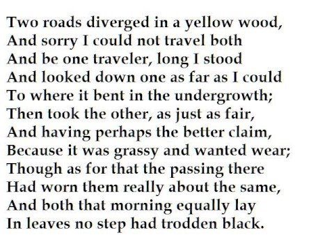 an analysis of the different interpretations in the road not taken by robert frost Stylistic analysis of the poem the onset by robert frost  known poems as the road not taken ,the stopping by woods on snowy evening and ice.
