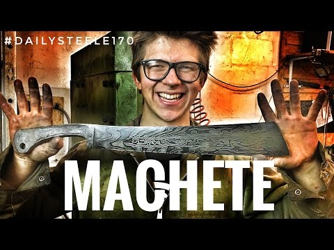 Video MAKING A MACHETE!!! Forged Damascus Steel! + Cutting Tests! download in MP3, 3GP, MP4, WEBM, AVI, FLV January 2017