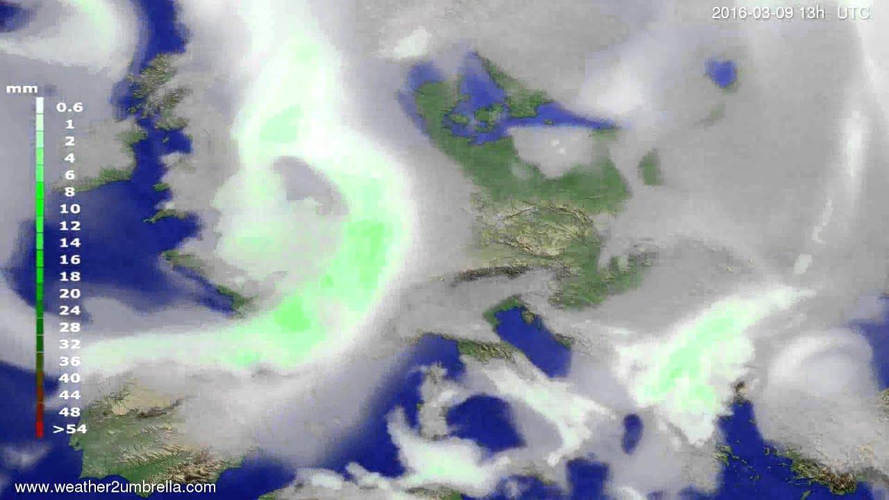 Precipitation forecast Europe 2016-03-06