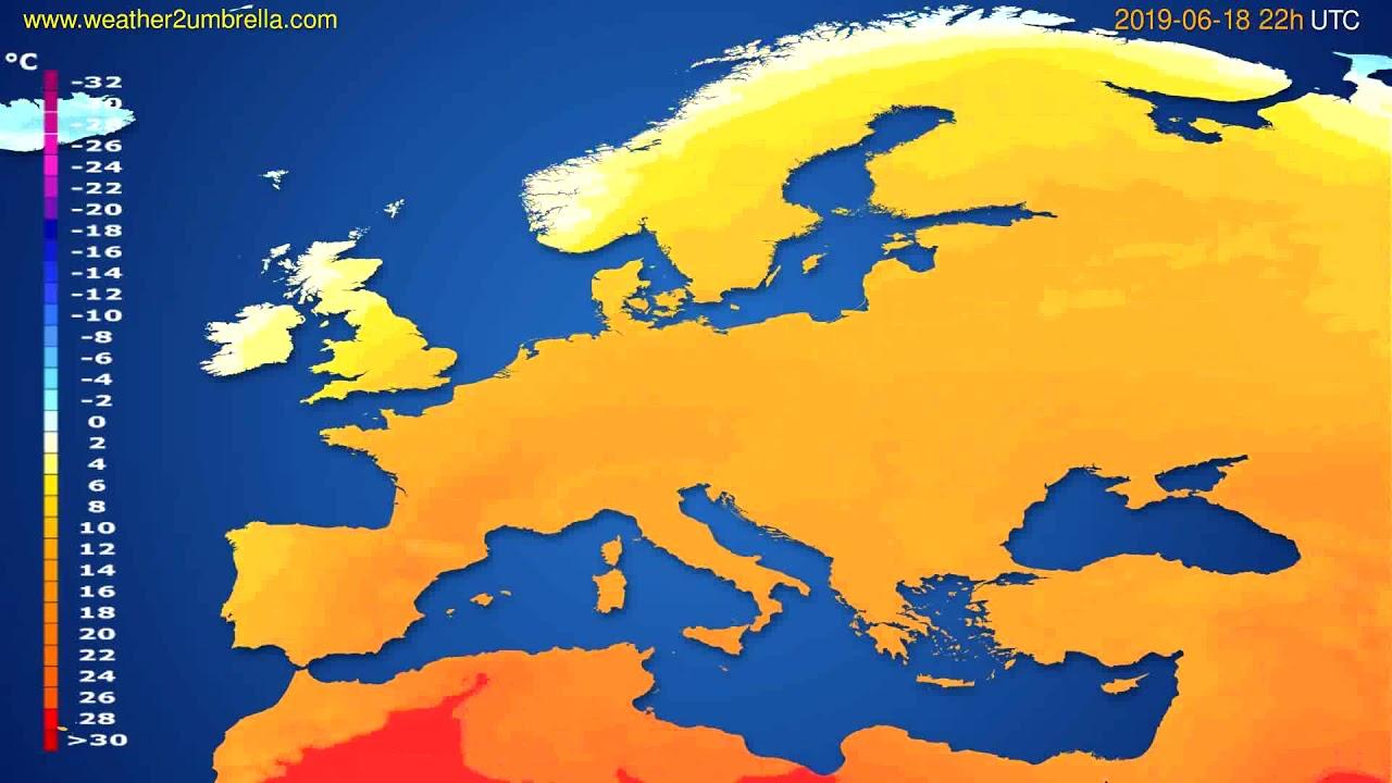 Temperature forecast Europe // modelrun: 00h UTC 2019-06-16