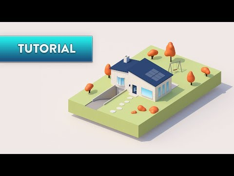 C4D TUTORIAL  |  Simple Cute House  (Ultra-Beginner)