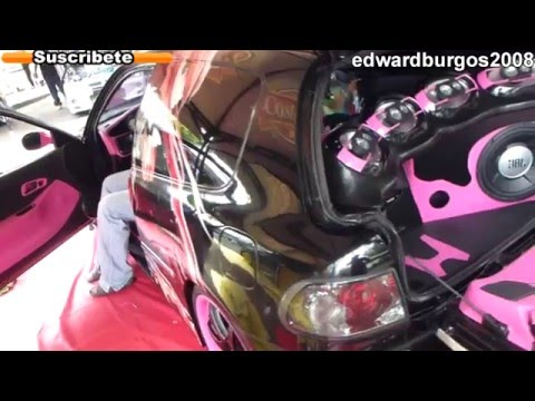 honda hatchback Tuning mujer modificado car audio tuning femenino fibra de carbono 2012 FULL HD
