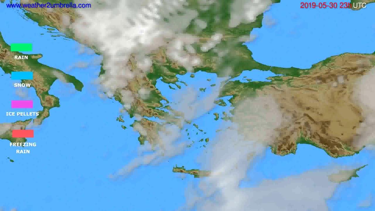 Precipitation forecast Greece // modelrun: 12h UTC 2019-05-27