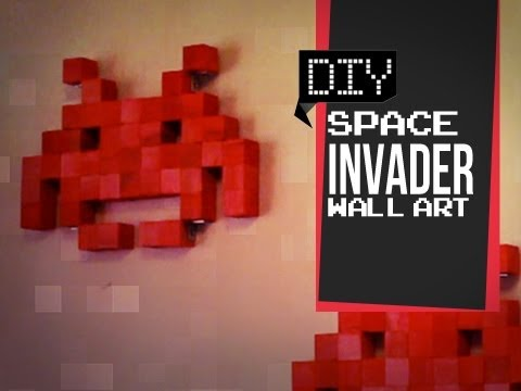 wall art - Space Invaders Wall Art! Do it yourself Geeky Goodies Create your own space invader!!! Link for wood cubes here! http://www.barclaywoods.com/craft_parts.htm ...