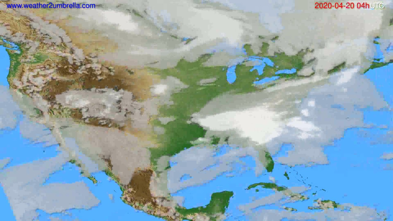 Cloud forecast USA & Canada // modelrun: 12h UTC 2020-04-19