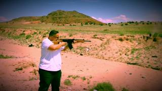 My brother Tony shooting my Vepr. It was his first time shooting the 7.62x54r beast. Easy to see he had a good time.