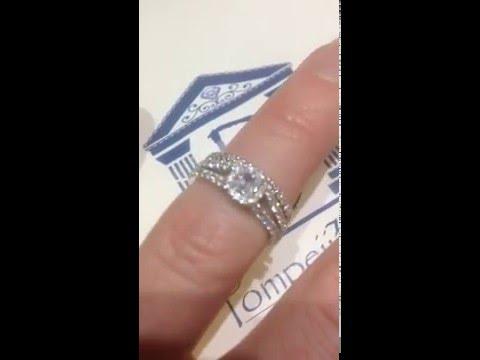 Princess Cut Diamond Engagement Wedding Ring Bridal Set 14K White Gold by Pompeii3.com