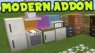 MCPE ADDON! MODERN Furniture Decorations + ADDON and BEHAVIOR PACK - Minecraft PE (Pocket Edition)
