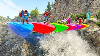Video COLOR BOATS Waterfall and Dirt BIKES Cartoon for kids and children with superheroes MP3, 3GP, MP4, WEBM, AVI, FLV Juni 2018