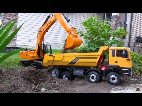 RC ADVENTURES – 1/12 Scale Earth Digger 4200XL Excavator & 1/14 8×8 Armageddon Dump Truck