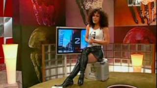 Anastasia Zampounidis In Leather Skirt And Boots