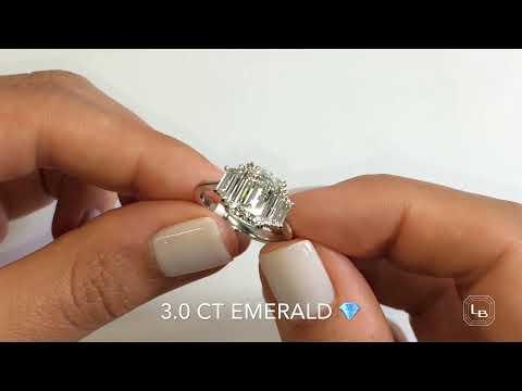 3 ct Emerald Cut Diamond 3-Stone Engagement Ring