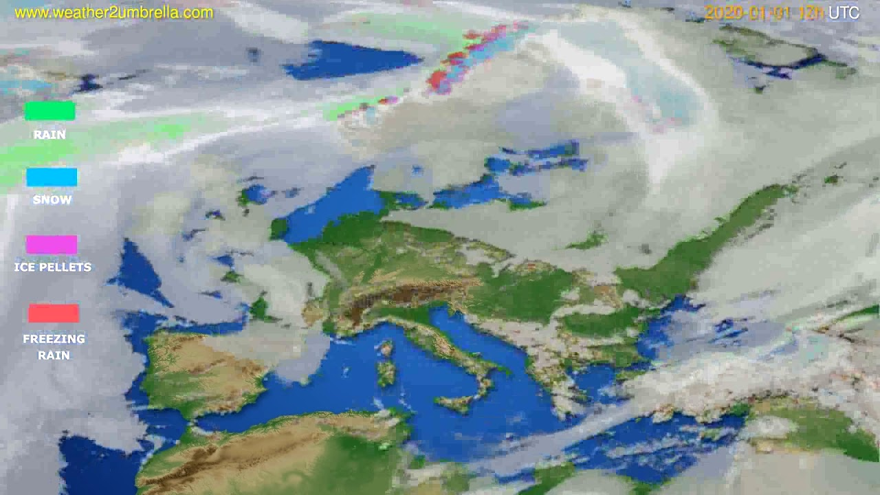 Precipitation forecast Europe // modelrun: 12h UTC 2019-12-31