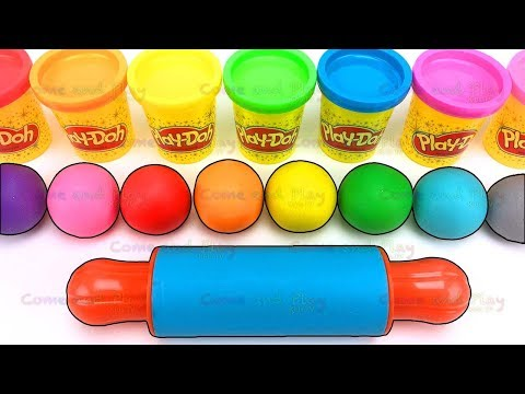 Playing and Learning Colors with Play Doh Balls and Cartoon Molds