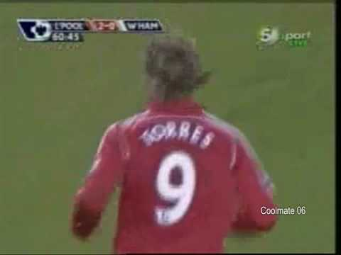 MrCoolmate06 - torres scoring a hat trick against west ham, fernando torres that wears the number 9 t shirt is a liverpool attacker and this is one of his hatrick vs west h...