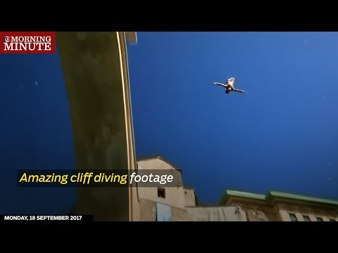 Briton Gary Hunt at last proved he could dive off a bridge when he won the Red Bull Cliff Diving Mostar, Bosnia and Herzegovina round.